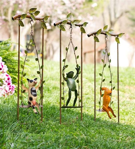 Animal Garden Accents Metal Swinging Animal D 233 Cor Garden Plow Hearth