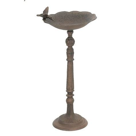 upper deck cast iron bird bath feeder with large base and