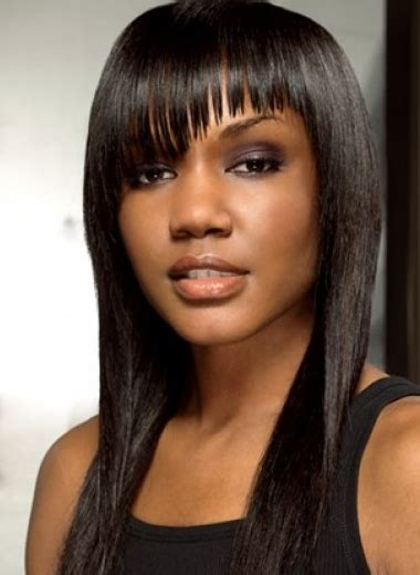 the perfect style for black girl straight hair simple straight black women hairstyle with long bangs with layers png