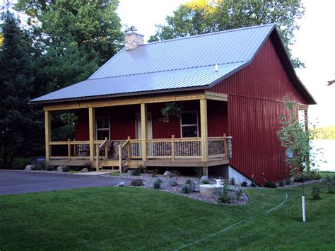 cosy metal barn w porch fireplace hq