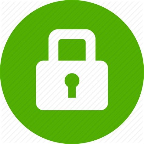 Circle, green, lock, privacy, safe, secure, security icon ...