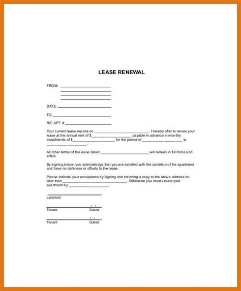 Business Letter Not Renew Contract lease renewal letter letter format business