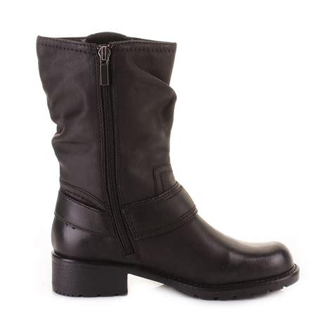 womens biker style boots womens clarks orinocco jive black leather mid calf biker