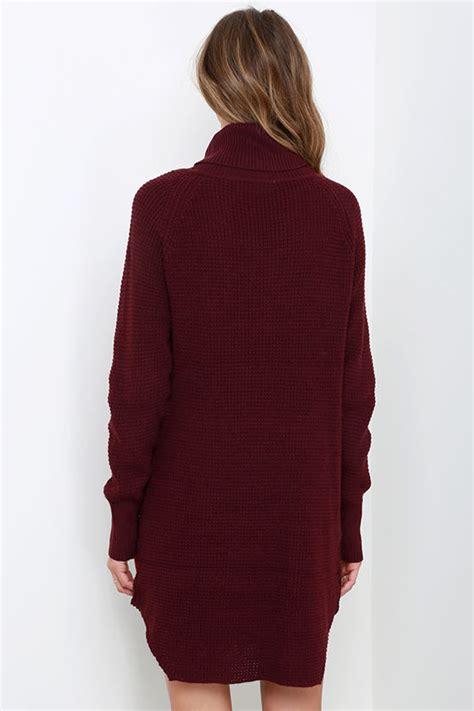 Pretty Trutleneck Sweater Maroon burgundy knit dress sweater dress turtleneck