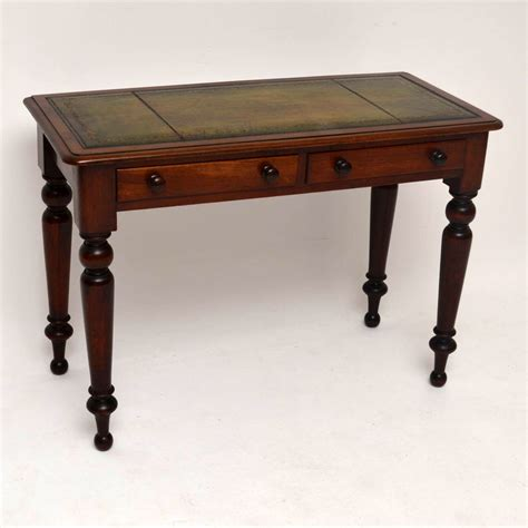 Antique Victorian Mahogany Leather Top Writing Table Table Top Desk