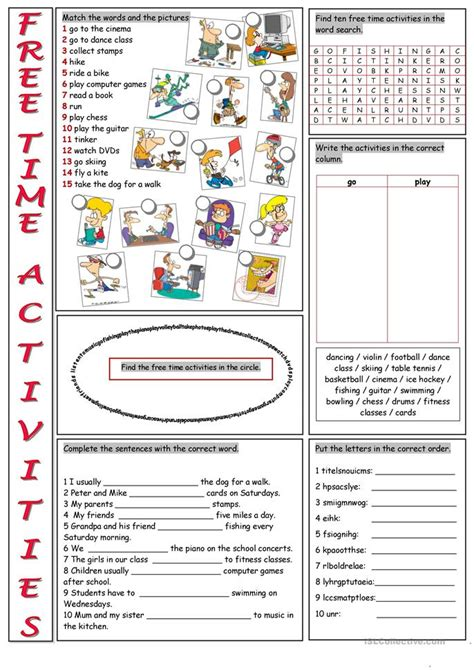 exercises with keys free english materials for you free time activities vocabulary exercises worksheet free