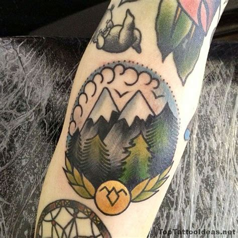 american style tattoo american traditional style mountains tattoos idea