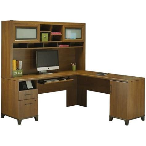 bush achieve l shape home office desk with hutch in warm
