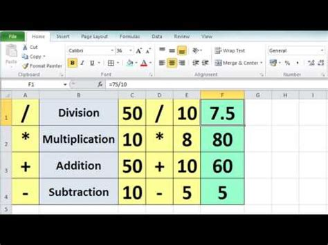 tutorial excel lumia excel 2010 calculation basics and formulas short trick