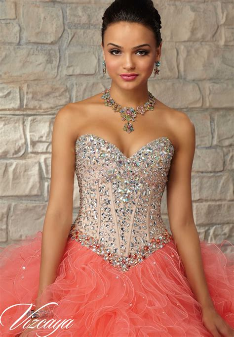 Two Tone Satin And Tulle With Beading Qui Eanera Dress