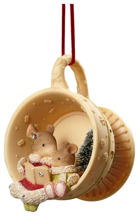 enesco enesco heart of christmas mouse reading teacup