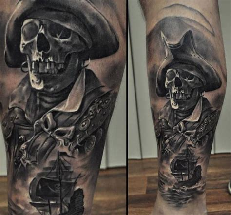 pirate skull tattoo pirate tattoos on calf tattoos