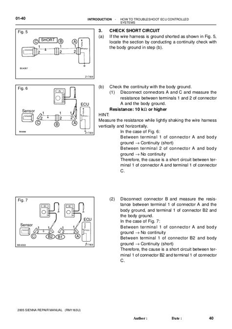 toyota sienna 2005 2010 service repair manual 187 автолитература руководства по ремонту и 2005 sienna fuse box short pin 30 wiring diagram images