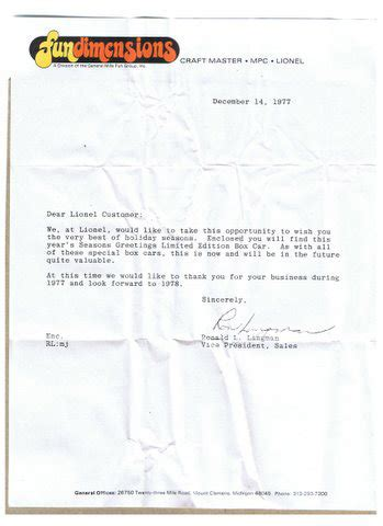 thank you letter to employees at holidays lionel 1977 seasons greetings box car wars