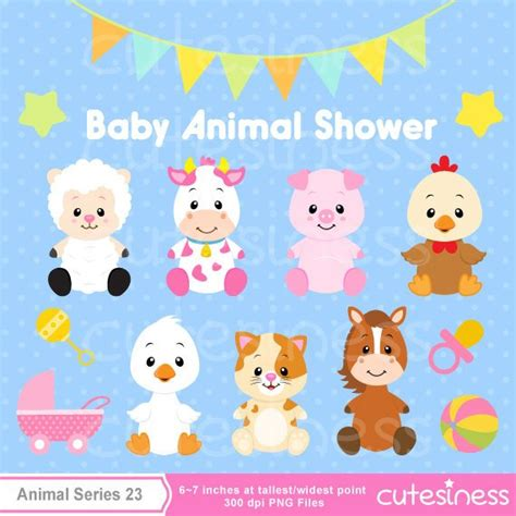 Baby Animal Clipart Baby Shower by Items Similar To Baby Animal Clipart Baby Farm Animals