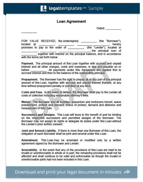 Create A Loan Agreement Legal Templates Free Financial Loan Agreement Template