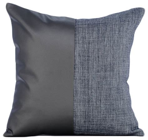 Throw Pillows For Leather by Charcoal Gray Leather N Jute Faux Leather Gray Pillow