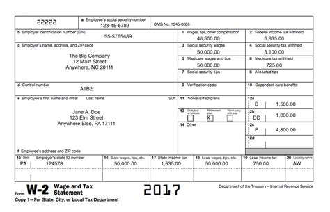 Understanding Your Tax Forms 2017 Form W 2 Wage And Tax Statement 2017 W2 Template