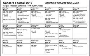 football practice schedule template football coaching staff concord minutemen concord high