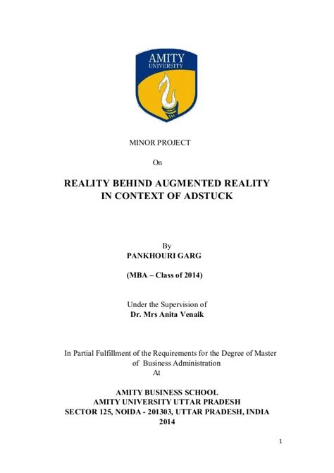 Amity Mba Project Synopsis by A Study On Adstuck S Augmented Reality Ventures