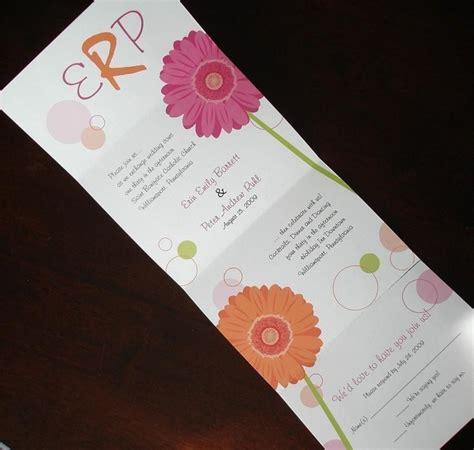 pink orange gerber wedding invitation unique - Unique Orange Wedding Invitations