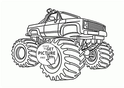 monster truck big wheels coloring page for kids