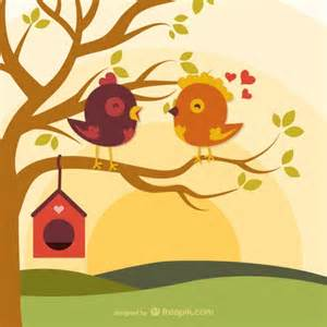 cartoon love birds on branch vector free download