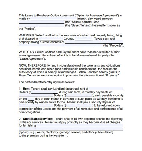 lease with option to buy agreement template lease with option to buy agreement template 28 images