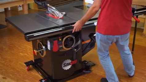 sawstop professional cabinet  integrated mobile base youtube