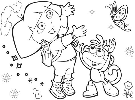 dora butterfly coloring pages popular character free coloring activity dora the