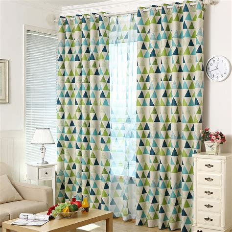 Waverly Curtains And Drapes Modern Brief Blackout Green And Blue Geometric Curtains