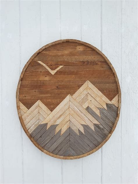 wooden wall decor reclaimed wood wall art mountain range with eagle decor