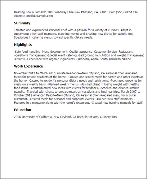 personal chef resume sle 28 images 28 sle of chef