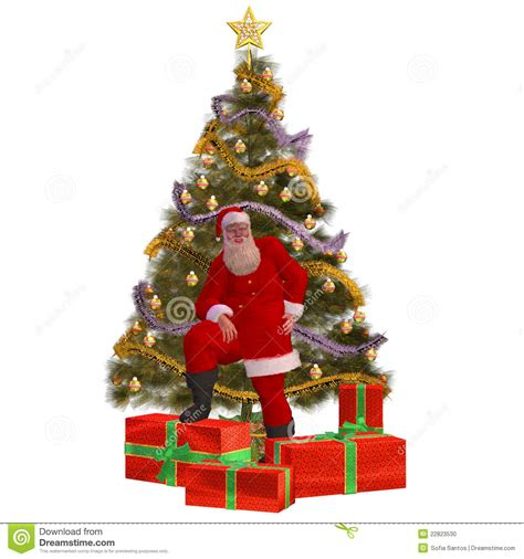 santacruz with christmas tree animated santa claus with presents and stock illustration illustration of beard cold 22823530