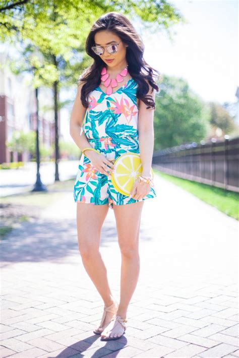 tropical print romper neon pink pops color chic