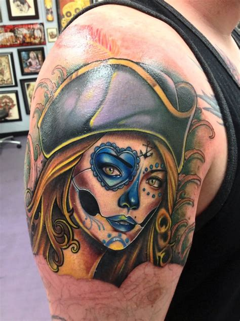 pirate girl tattoo wonderful pirate on sleeve by sam clark