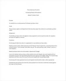 blanket purchase order agreement template doc 585615 sle blanket purchase agreement template