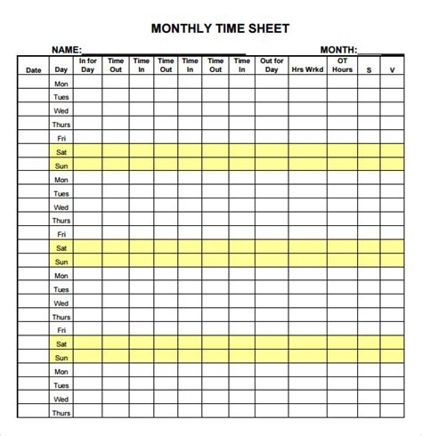 time sheet template   samples examples format