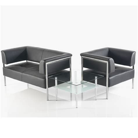 Contemporary Leather Reception Sofa Black And Chrome Leather Reception Sofa