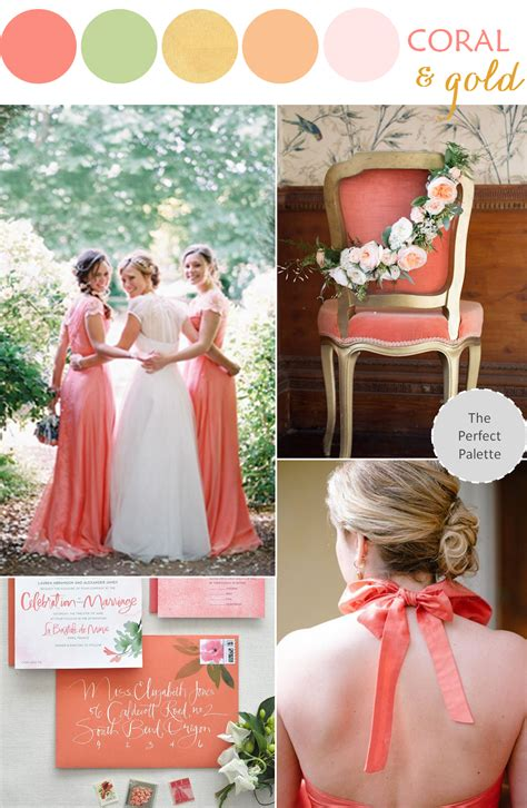 wedding by color wedding color palette coral green gold color stories