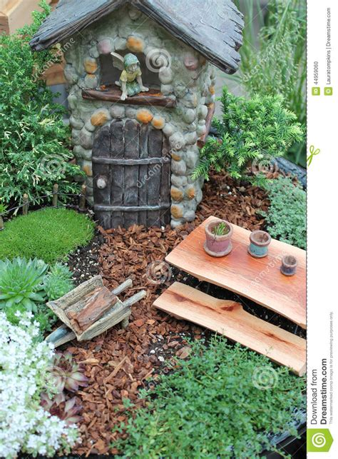 Unique Small House Plans fairy garden stock photo image 44959060