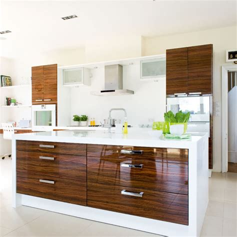 gloss kitchen ideas a wood and white hi gloss kitchen ideal home