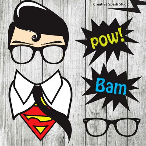 printable photo booth props superhero from a shop on etsy superhero props clark kent superman