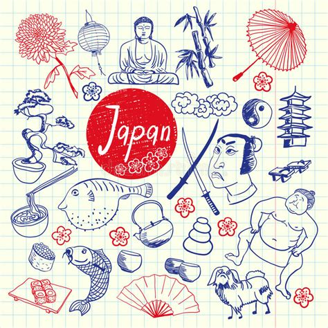 pen doodles vector japan symbols pen doodles vector collection stock