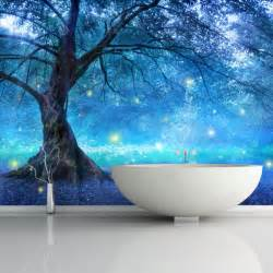Enchanted Forest Wall Mural mystical fairy tree blue enchanted forest kids wall mural
