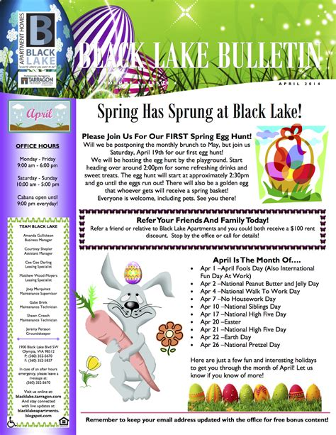 apartment community newsletter templates newsletter ideas april is the month of property