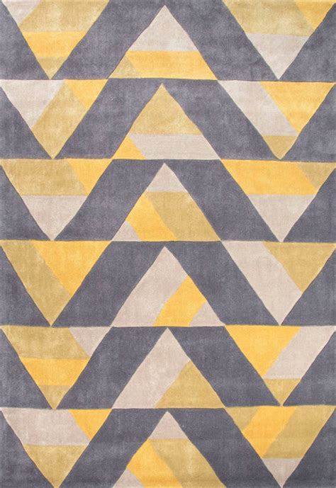 Yellow Gray Area Rug Tufted Geometric Pattern Polyester Yellow Gray Area Rug 5x7 6 Midcentury Rugs By