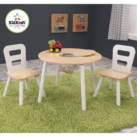 table enfant avec chaise table ronde avec filet et 2 chaises bois et blanc 27027