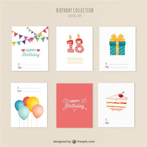 happy birthday minimal design variety of birthday cards vector free download