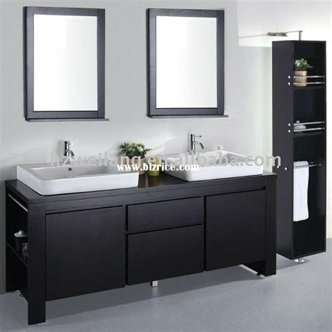 bathroom white sinks espresso cabinet black